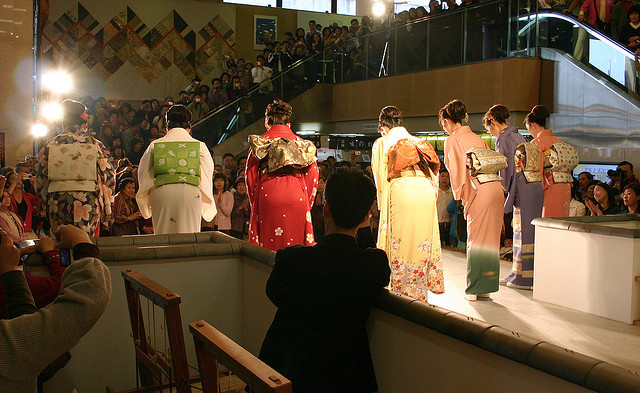 Kimono fashion show, Nishijin Textile Center, Kyoto