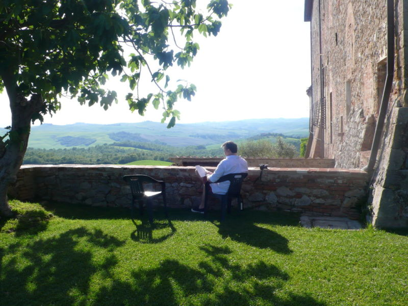 enjoying view of Vineyards and olive groves Sant'Anna in Camprena Tuscany Italy