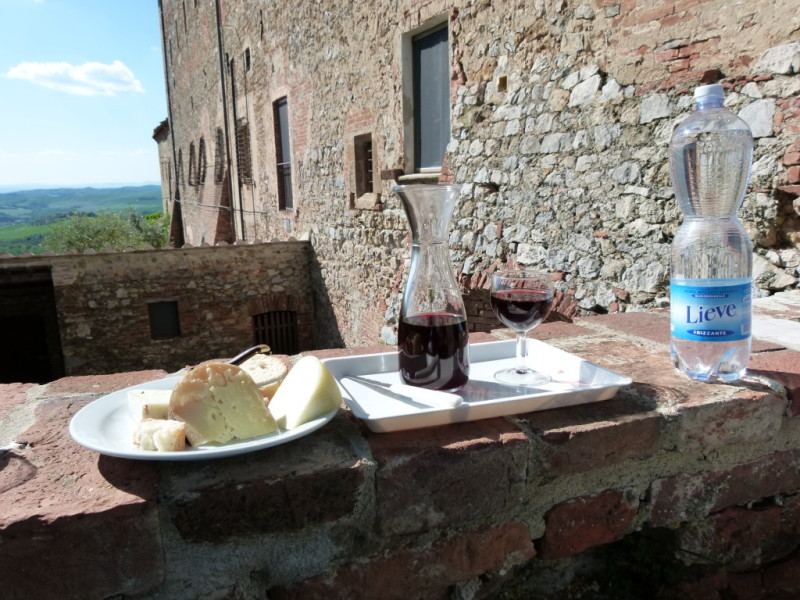 Tuscany, Italy Sant' Anna D wine and cheese