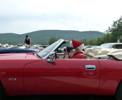 Santa in a Jaguar lime rock
