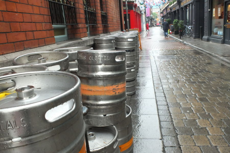 Dublin Ireland kegs beer in temple bar stags head