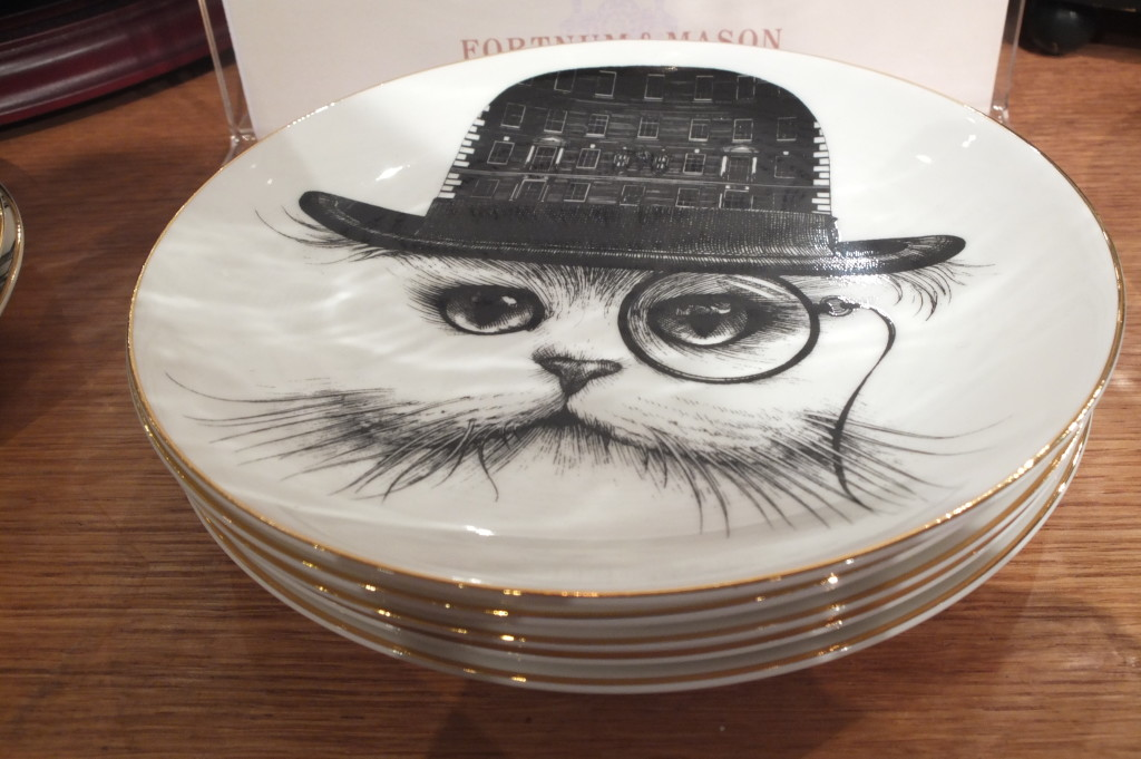 cat china plate hat monocle