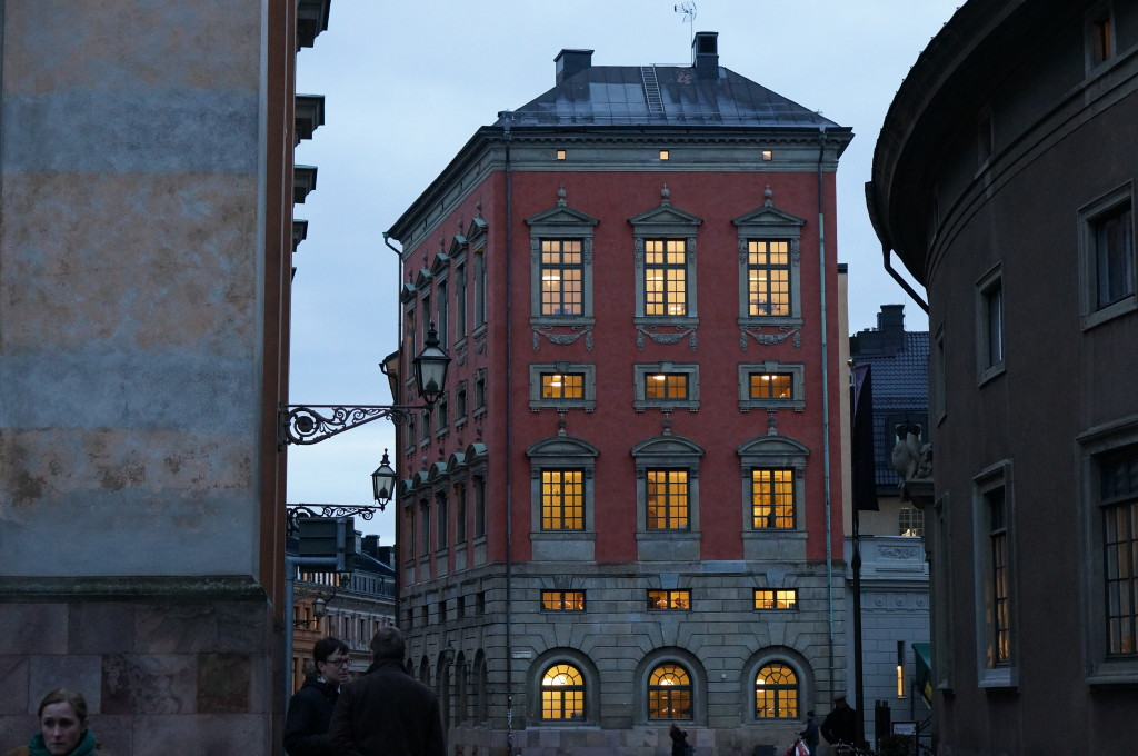 stockholm's old town historic center gamla stan dusk winter buildings sedish style