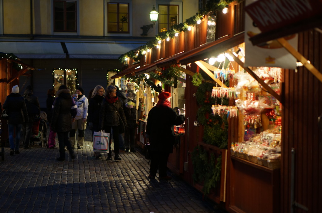 wooden Stalls Gamla Stan Christmas Market. stockholm sweden