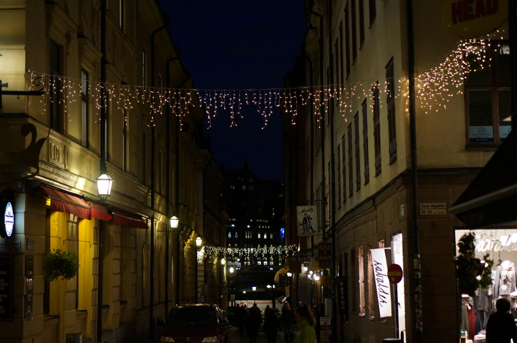 Christmas lights  Gamla Stan Stockholm cobblestone street night