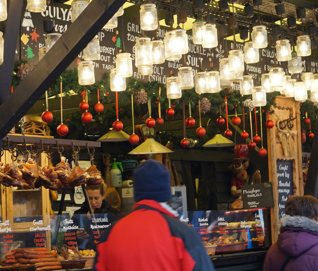 eating at  budapest christmas market fair