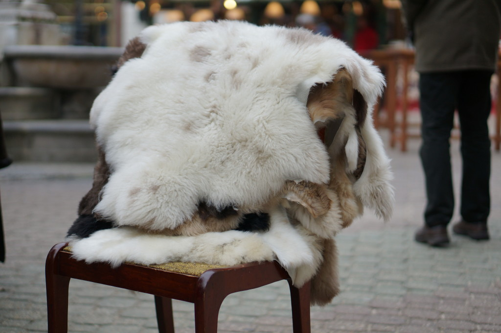 bdapest christmas market 2014 Sheepskin throw rugs. budapest souvenir hungarian  handmade craft  fair