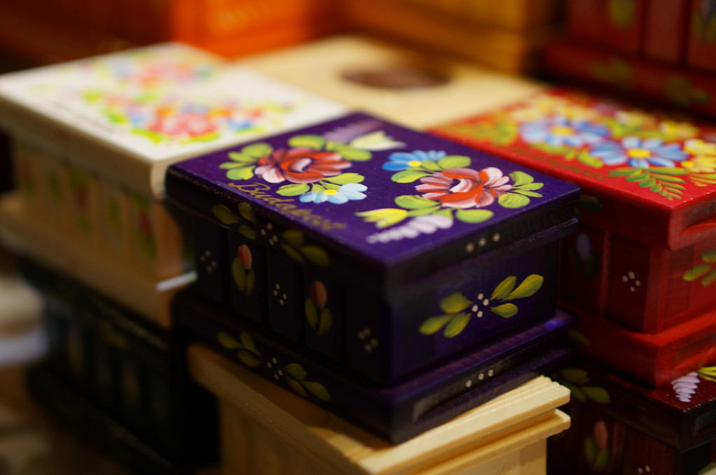 Tiny hand painted wooden box with a traditional Hungarian design