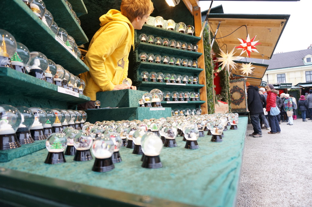 Schonbrunn Palace Christmas Market crafts vendor stalls decoration Vienna snow globes