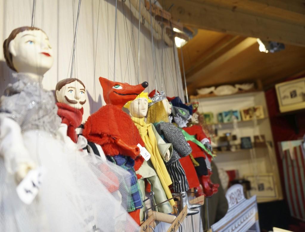 Vienna Schonbrunn Palace Christmas Market crafts puppets stall booth