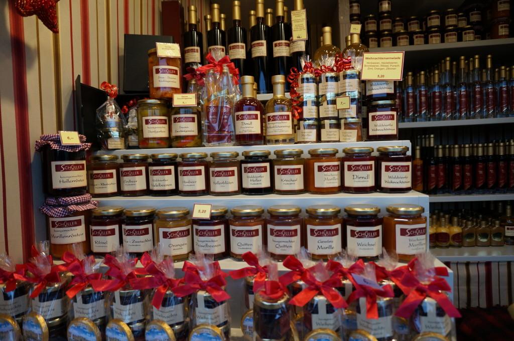 Austrian jams schnapps gift Schonbrunn Palace Christmas Market in Vienna.