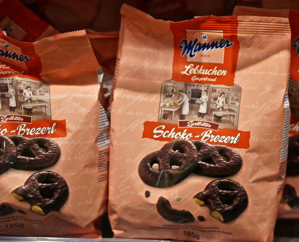 austrian souvenir Chocolate covered pretzels Manner
