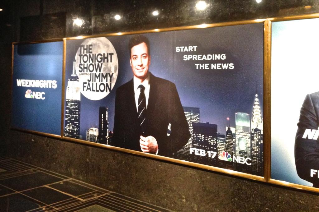 Tonight Show Starring Jimmy Fallon billboard in 30 rockefeller center