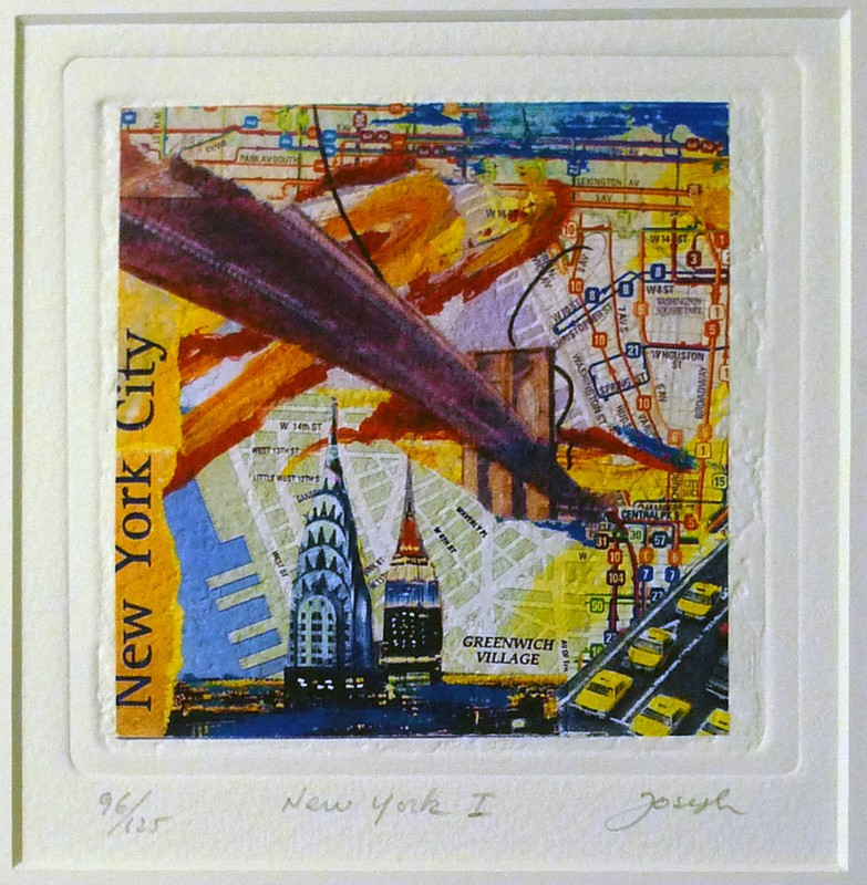 NYC souvenir New York Collage Painting