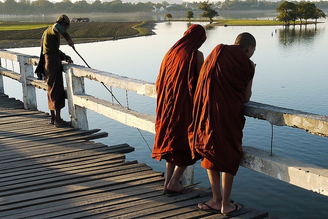 monks on ubein bridge