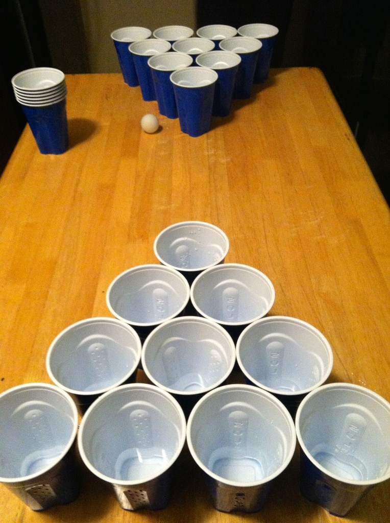solo cups beer pong set up