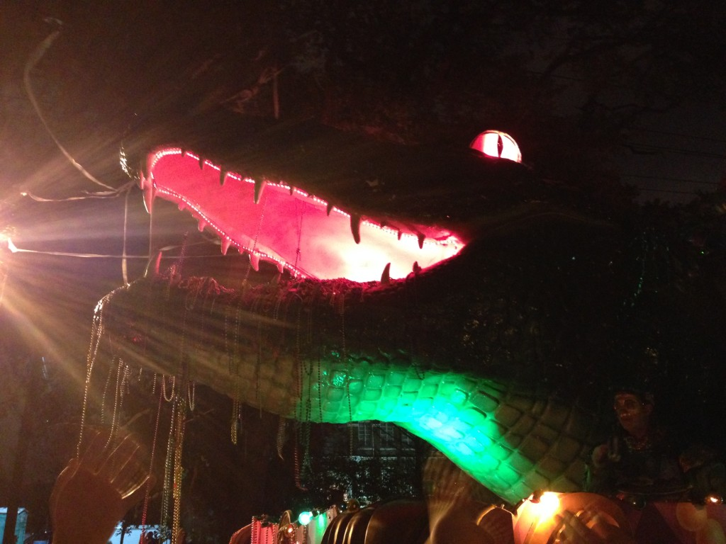 Mardi Gras parade bacchus float alligator