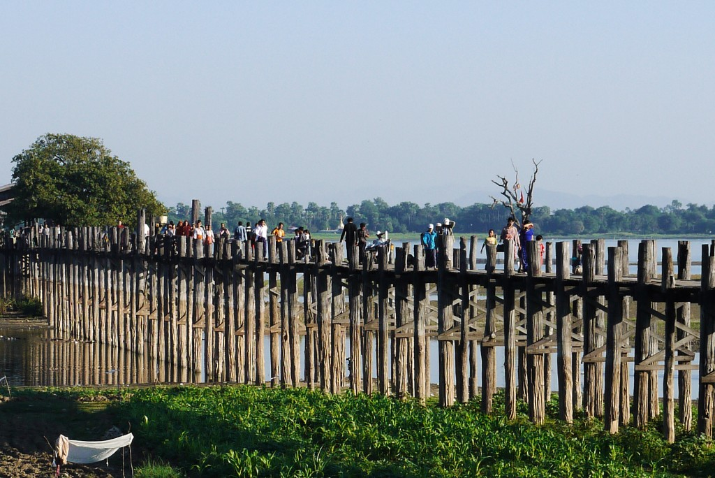 U Bein Bridge Mynamar Burma teak wood monks