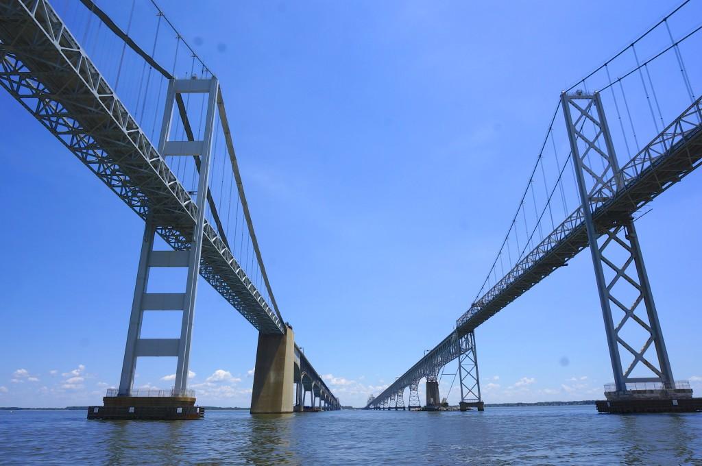sailing under between the bay bridge chesapeake bay maryland view underneath