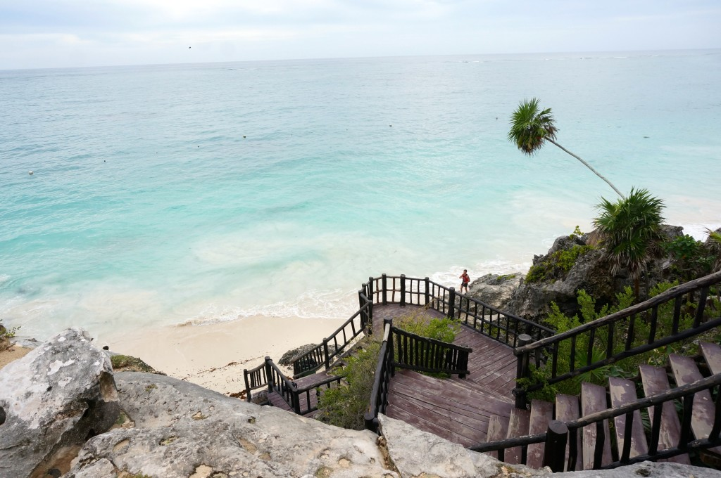 Walk down this tubling staircase to the hidden beach below.