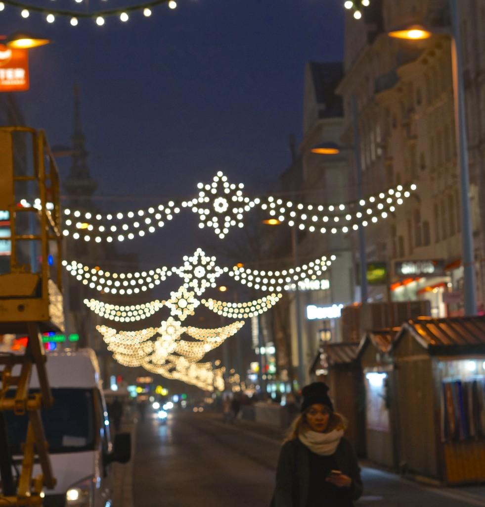 Christmas market lights in Spittelberg, Vienna. Weihnachtsmarkt