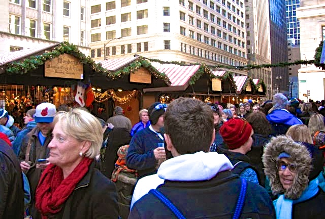 Like all good markets, Chicago's Christkindlmarket is crowded.