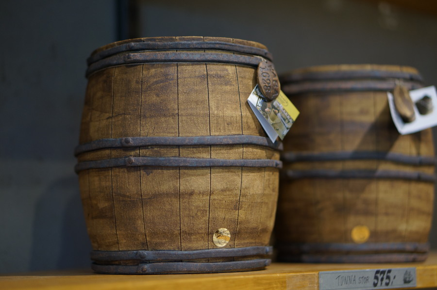 Ceramic jugs ship barrels-- souvenir Vasa Museum gift shop (Stockholm, Sweden).