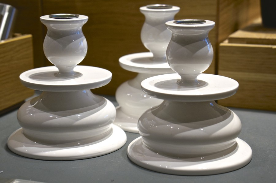 Beautiful white cermaic candlesticks (Vasa Museum Gift Shop, Stockholm, Sweden).