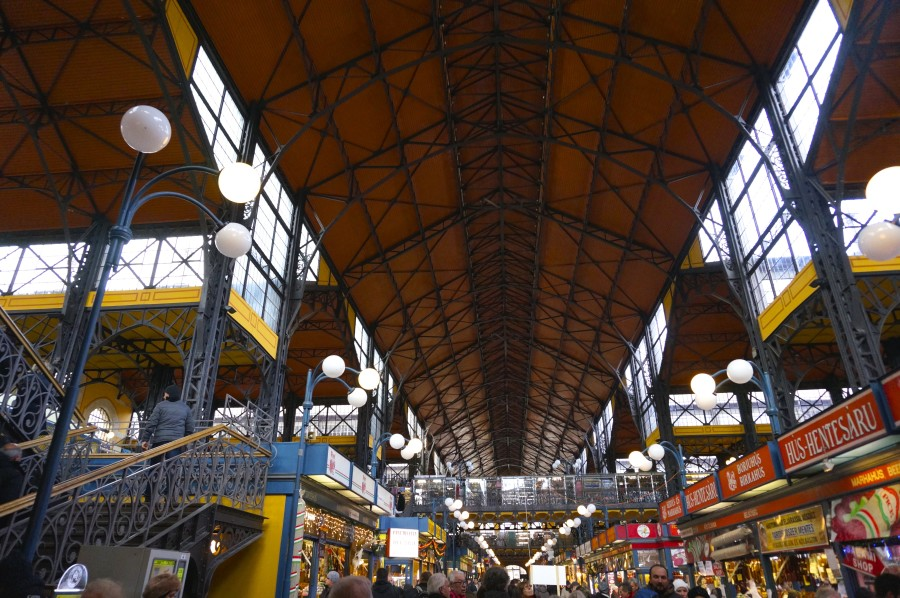 Central Market Hall Budapest Grand Hungary food stalls