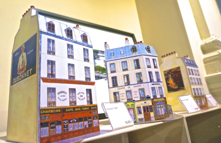 french cardboard buildings souvenir paris france best shopping