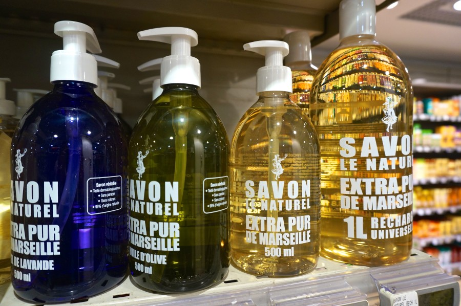 Paris, France souvenirs from Monoprix supermarket bath wash savon