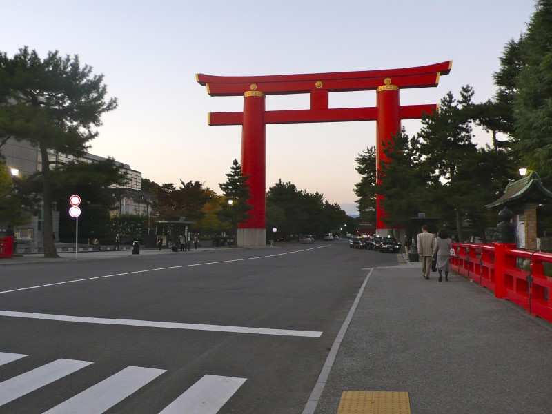 heian shrine kyoto japan tori red dusk
