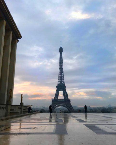 eiffel tower view from trocadero morning dawn paris