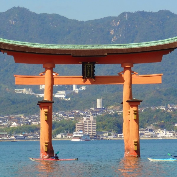 Miyajima shrine water japan boats