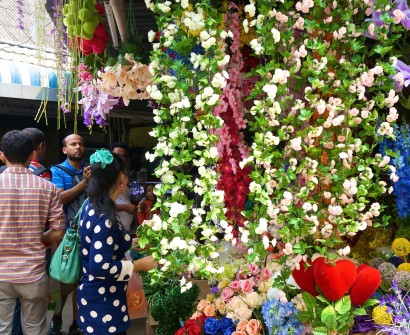 Silk flower garlands. JJ Market/Chatuchak, Bangkok.