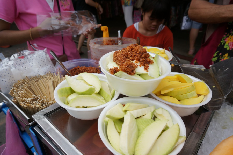 Sour fruit (green mango)  choice of toppings thai chile peppers