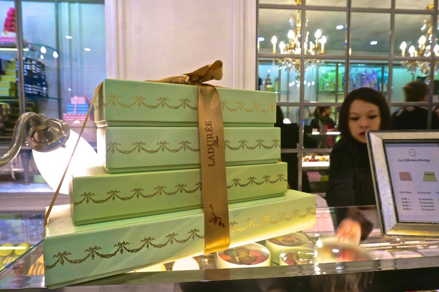 Laduree Paris shop blue box macarons
