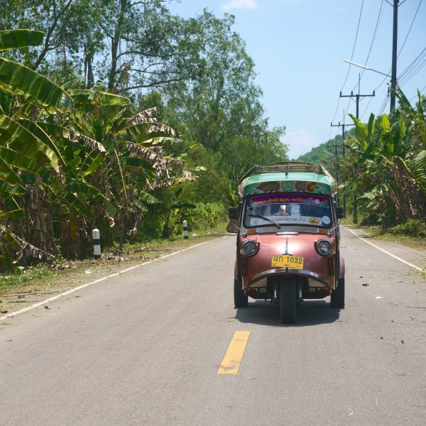 thailand tuk-tuk driving village road countryside