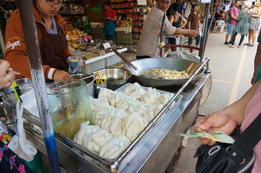 Fish balls made in front of you at JJ market in Bangkok.