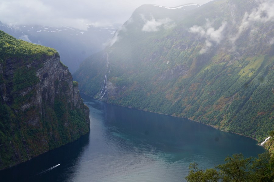 geiranger fjord view from above