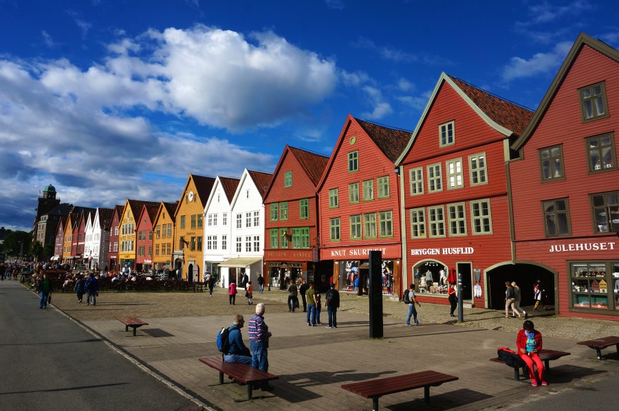 Bryggen photo wooden houses buildings painted colorful peaked roofs