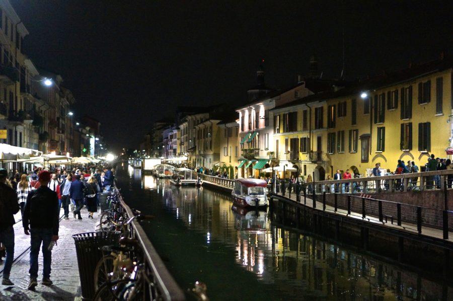 navigili canal milan night boats shops walking view italy