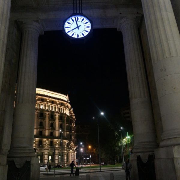 milan central station night clock view train italy
