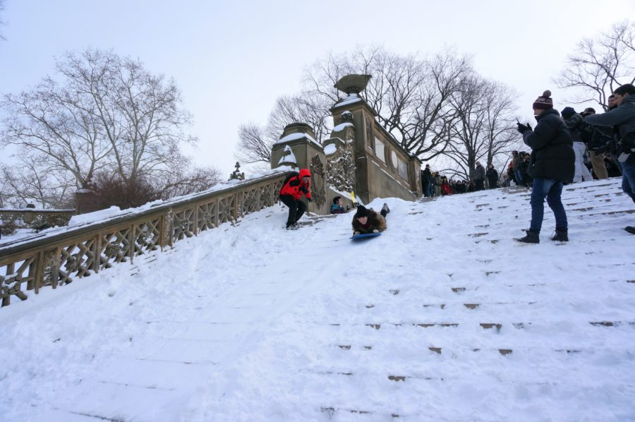 bethesda terrace stairs sledding snowstorm nyc