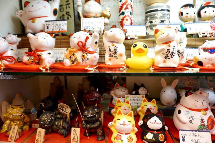 lucky cats asakusa market tokyo japan