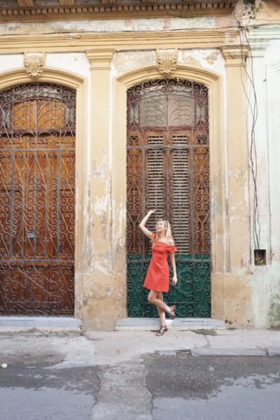 what resort wear pack havana cuba cute red dress ruffle off shoulder