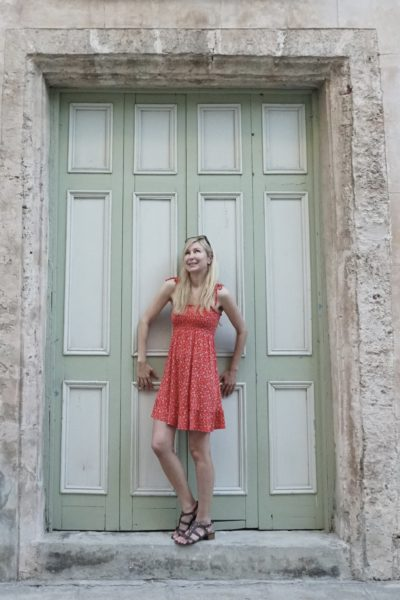 bright red dress cute travel dress vacation