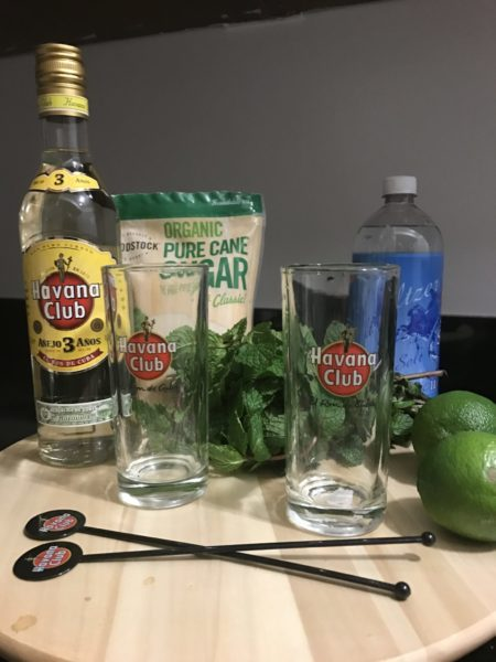 cuban souvenir havana club 3 year rum mojitos glasses