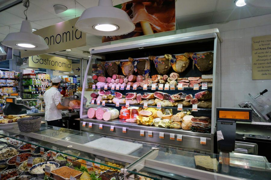 meat counter italian supermarket