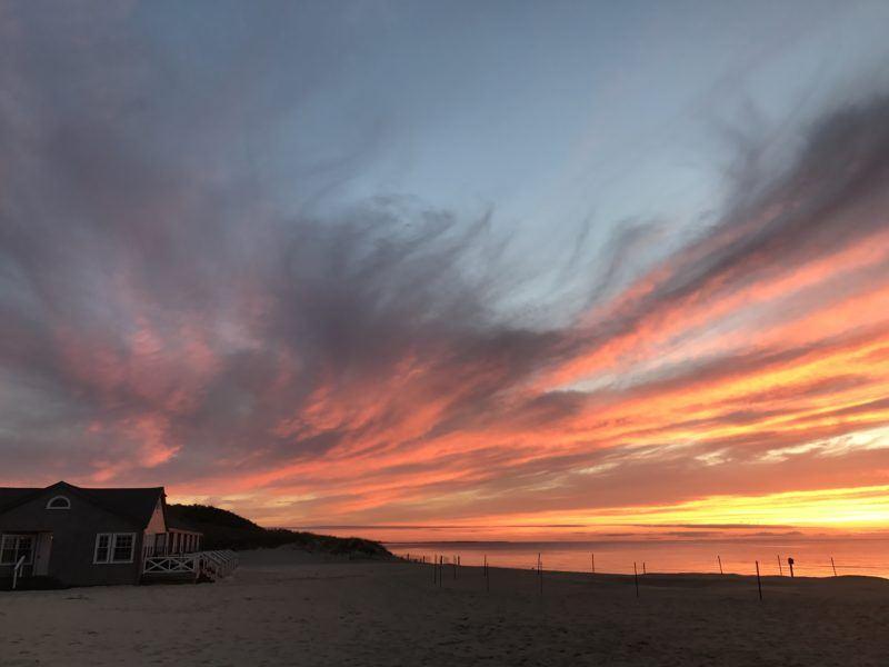 nantucket sunset orange sky island
